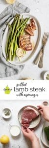 grilled lamb steak on a plate with ingredients and text overlay