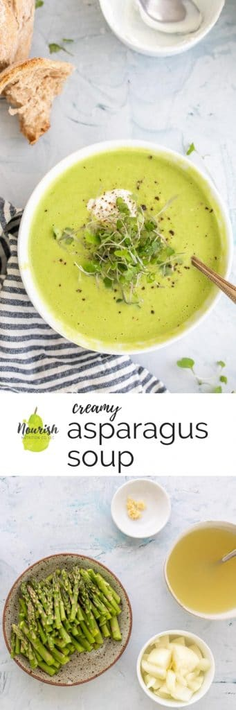 creamy asparagus soup in a bowl with ingredients and a text overlay