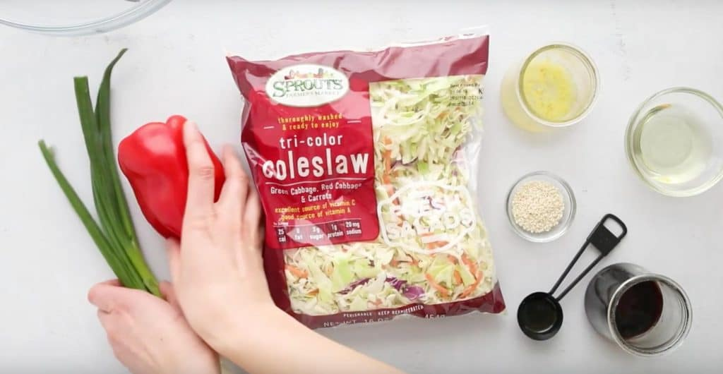 ingredients for Asian coleslaw on a table