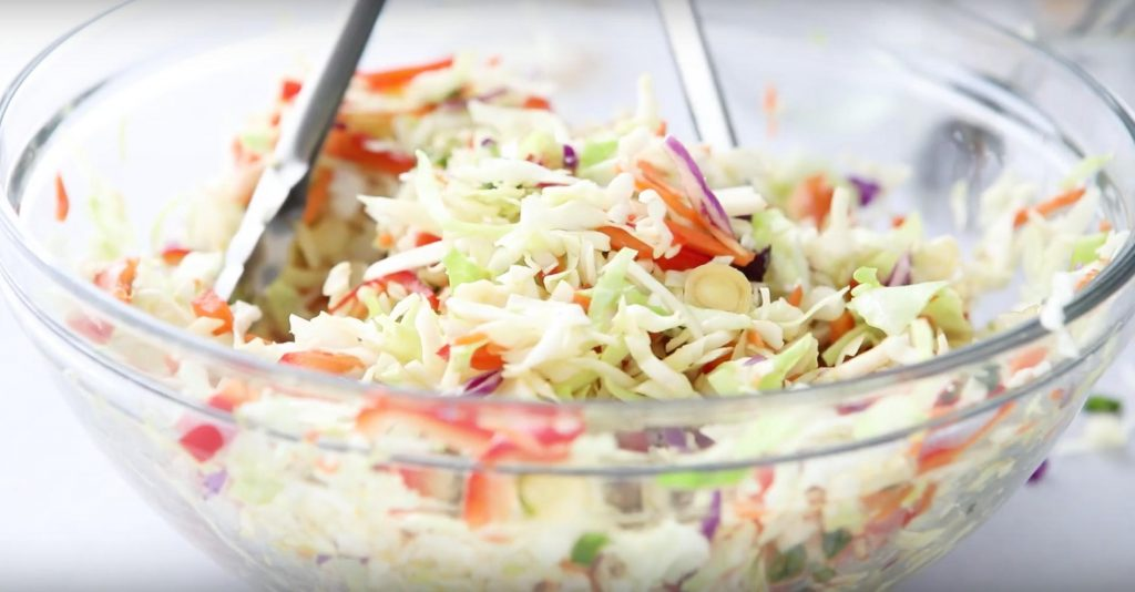 5 minute Asian coleslaw in a bowl