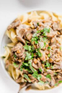 Instant Pot lentil stroganoff in a bowl