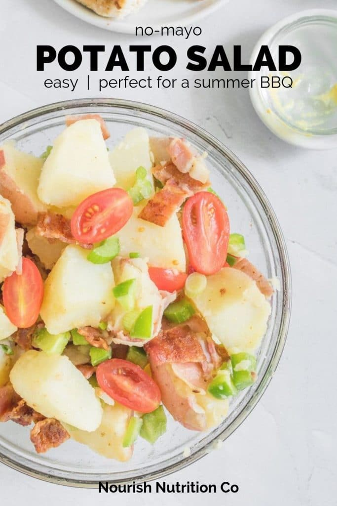 no-mayo potato salad with text overlay