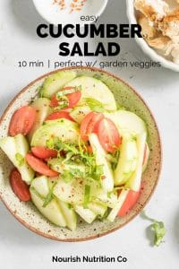 easy cucumber salad with text overlay