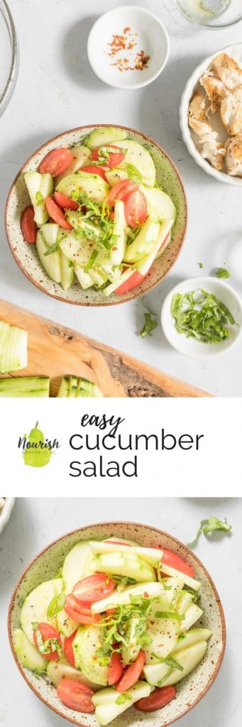 easy cucumber salad and ingredients with text overlay