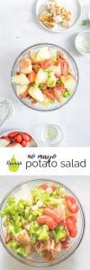 no-mayo potato salad with ingredients on table with text overlay
