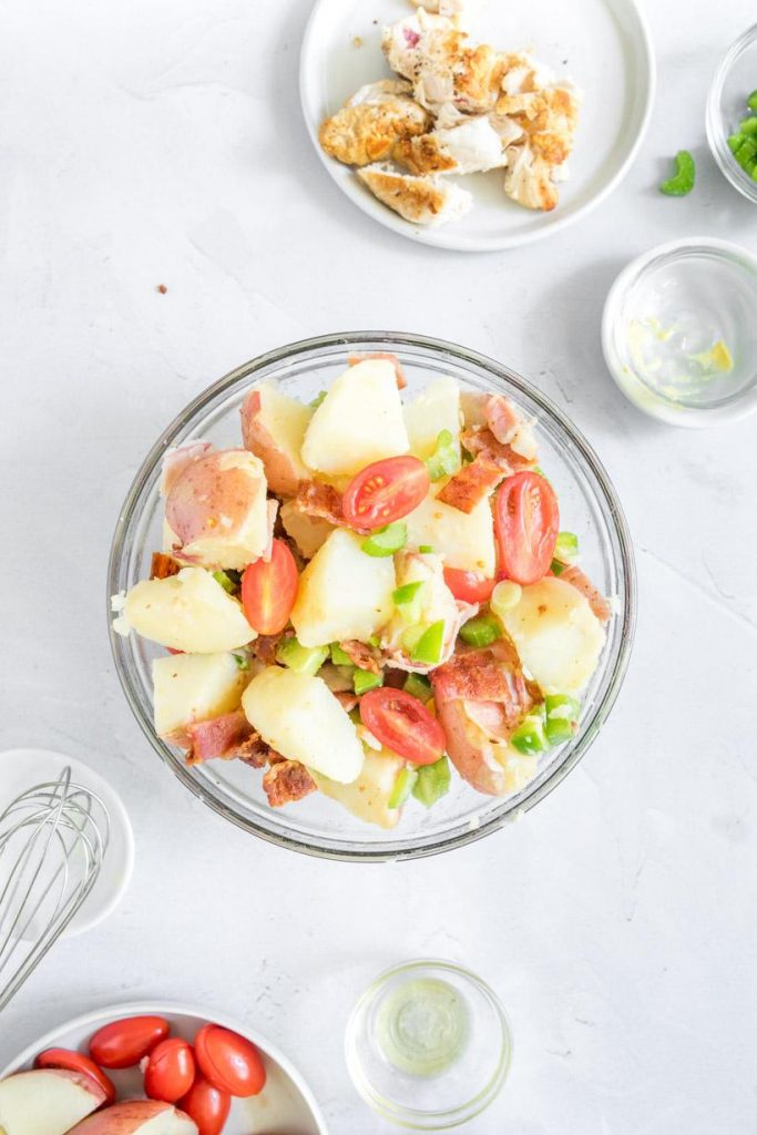 no-mayo potato salad with bowls on table