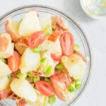 close up photo of no-mayo potato salad in bowl