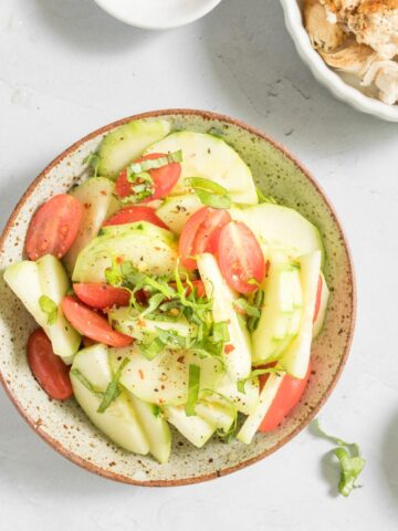close up of an easy cucumber salad