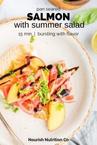 pan seared salmon with summer salad with text overlay