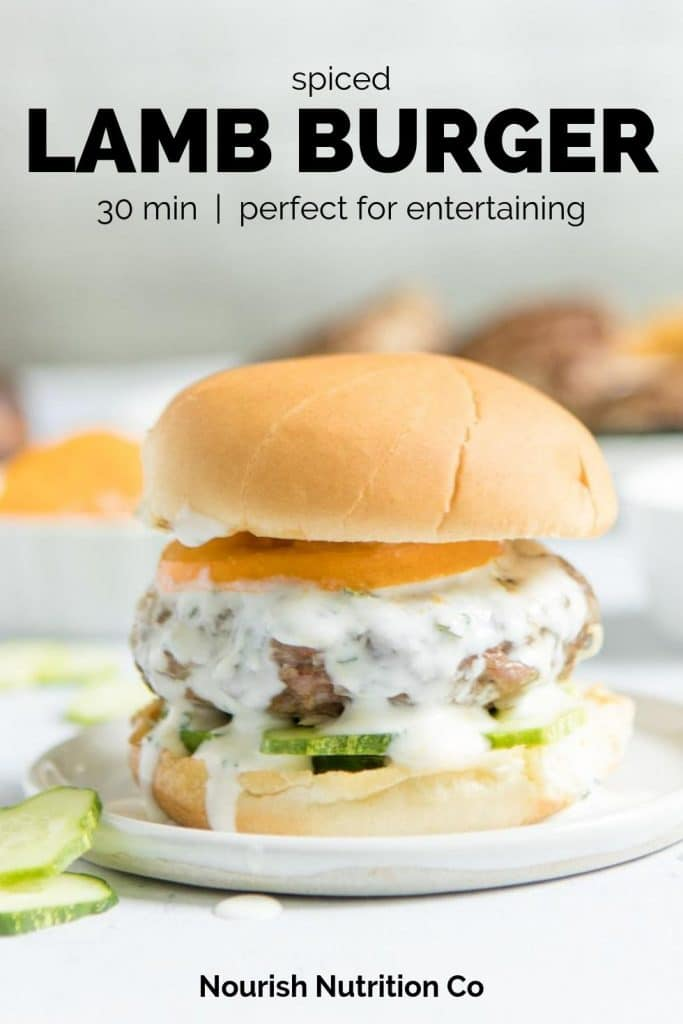 spiced lamb burger with text overlay