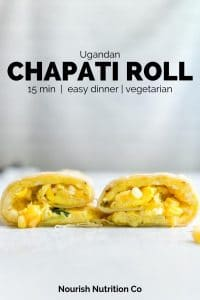chapati roll sliced in half on a table with text overlay