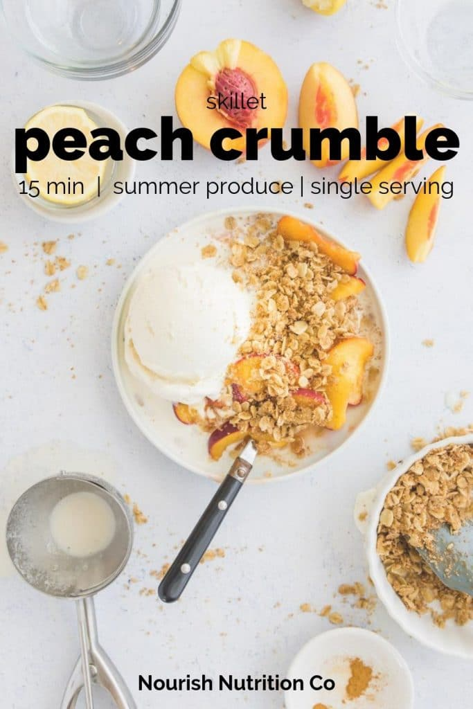 peach crumble on a table with text overlay