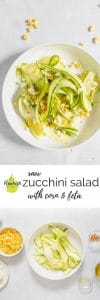 zucchini salad with feta in a bowl with ingredients on a table with text overlay