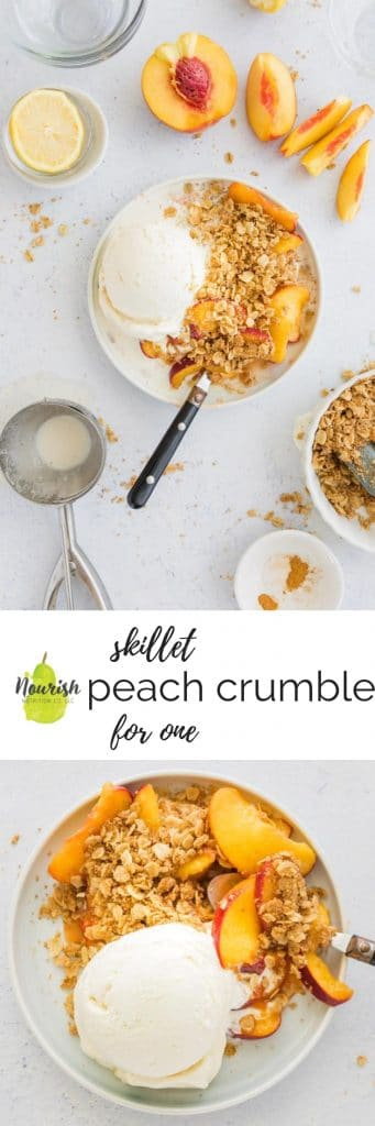 peach crumble with ingredients and text overlay