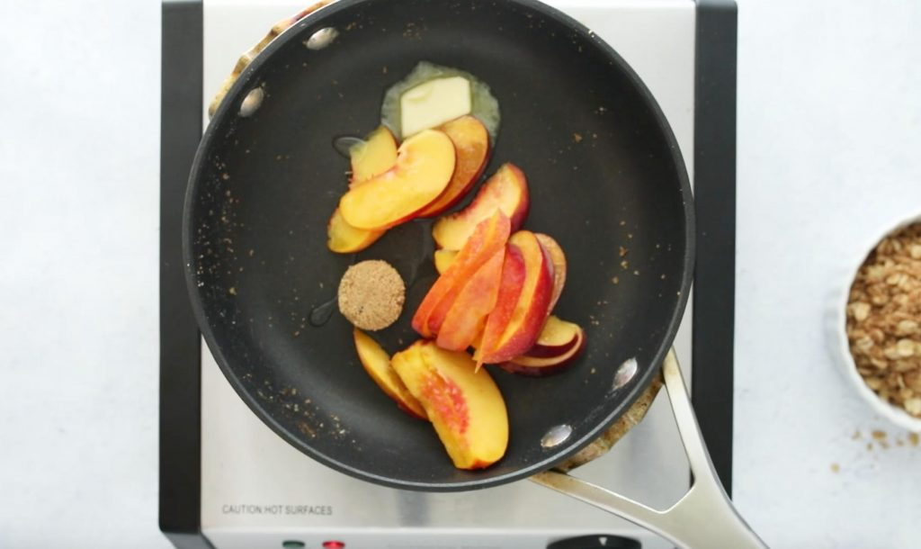 peaches, butter, and brown sugar in a sautee pan