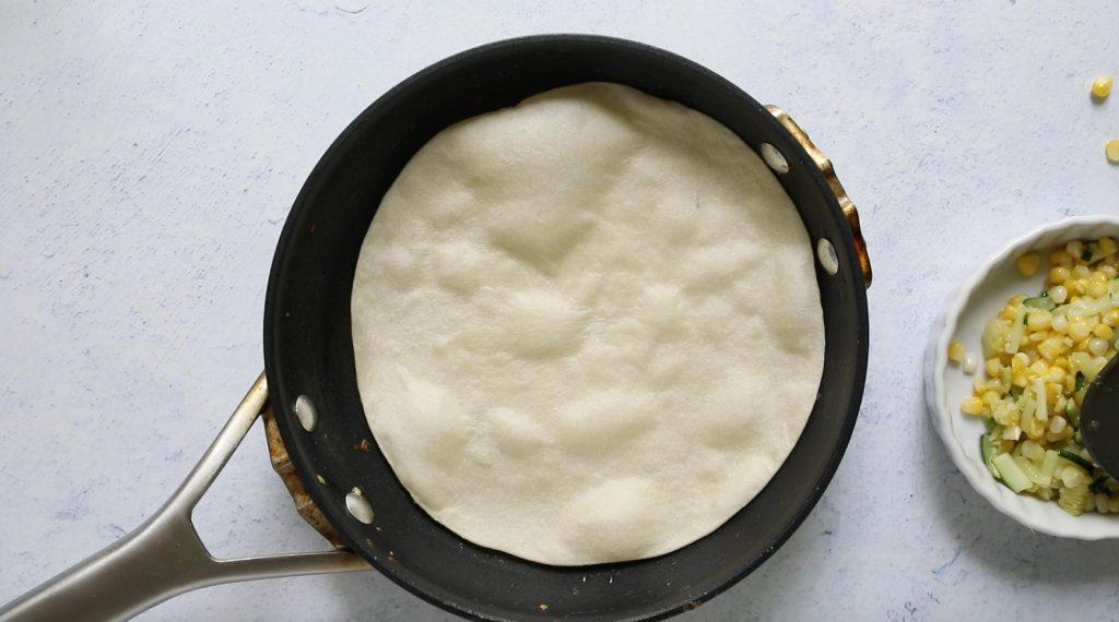tortilla in a fry pan