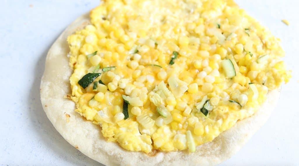 egg mixture on a tortilla