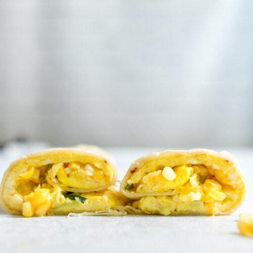 Ugandan chapati roll cut in half