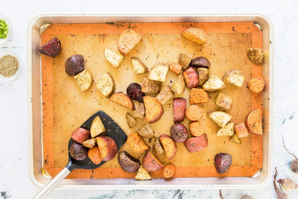 roasted winter vegetables on a baking sheet