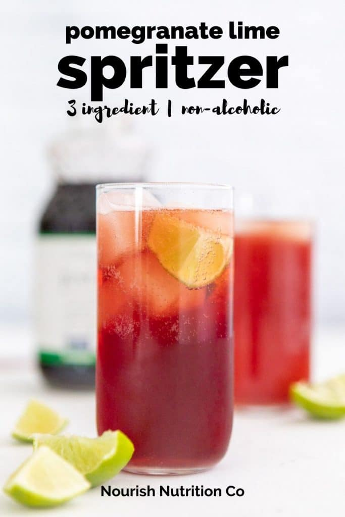 pomegranate lime spritzer in a glass with text overlay