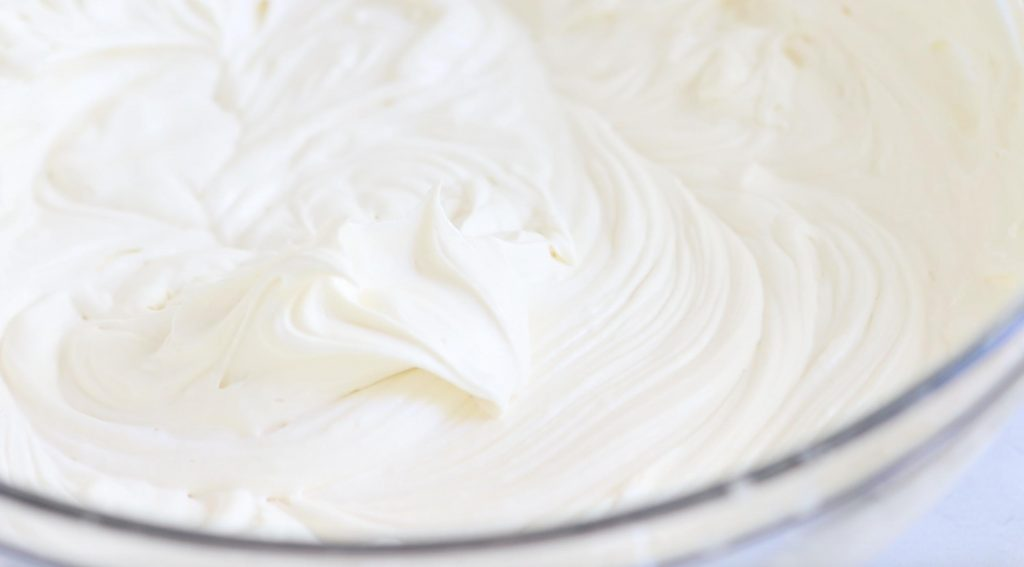 soft peaks of cream cheese whipped cream