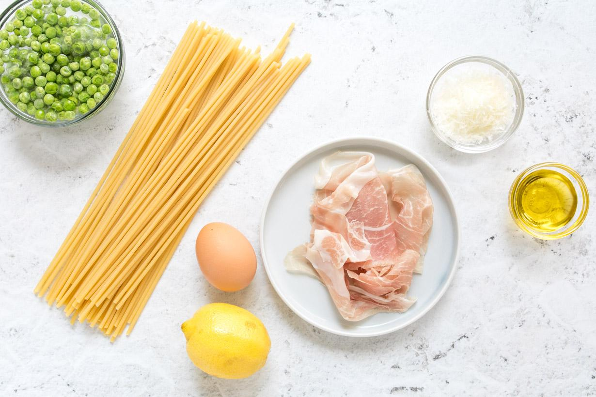 ingredients for healthy carbonara on a table