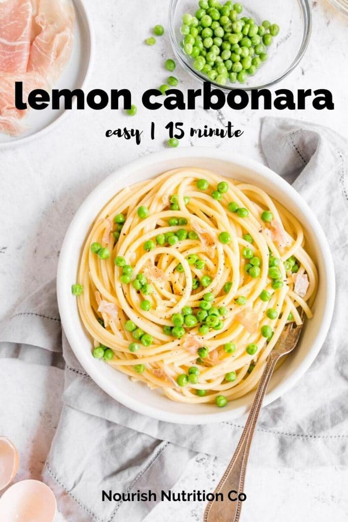 healthy carbonara in a white bowl with ingredients surrounding it and text overlay