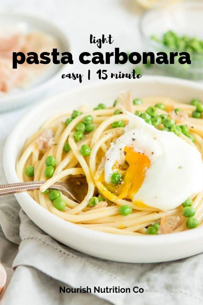 close up of carbonara with a poached egg in a white bowl with text overlay