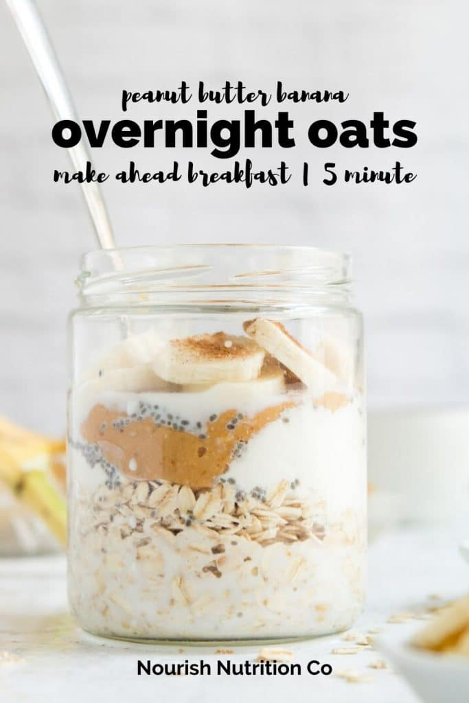 peanut butter overnight oats in a glass jar with text overlay