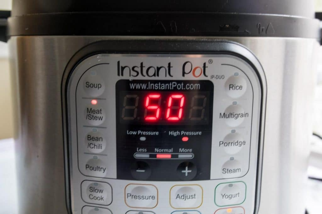 Instant Pot monitor set to MEAT/STEW for 50 minutes