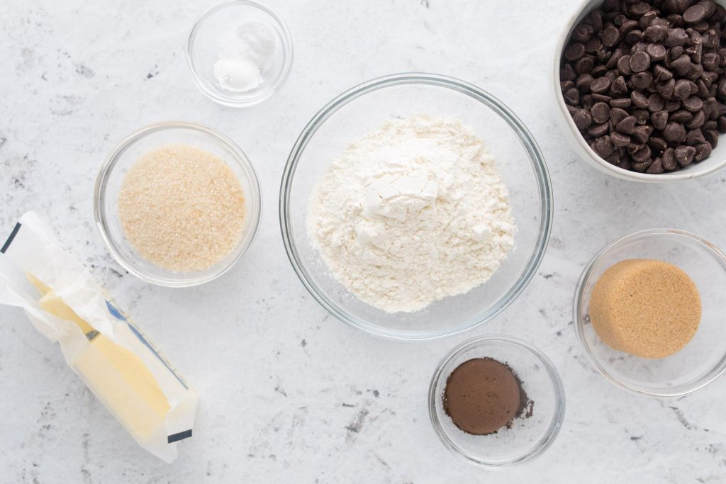 ingredients for small batch cookies on a table