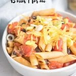 close up of black bean pasta with text overlay