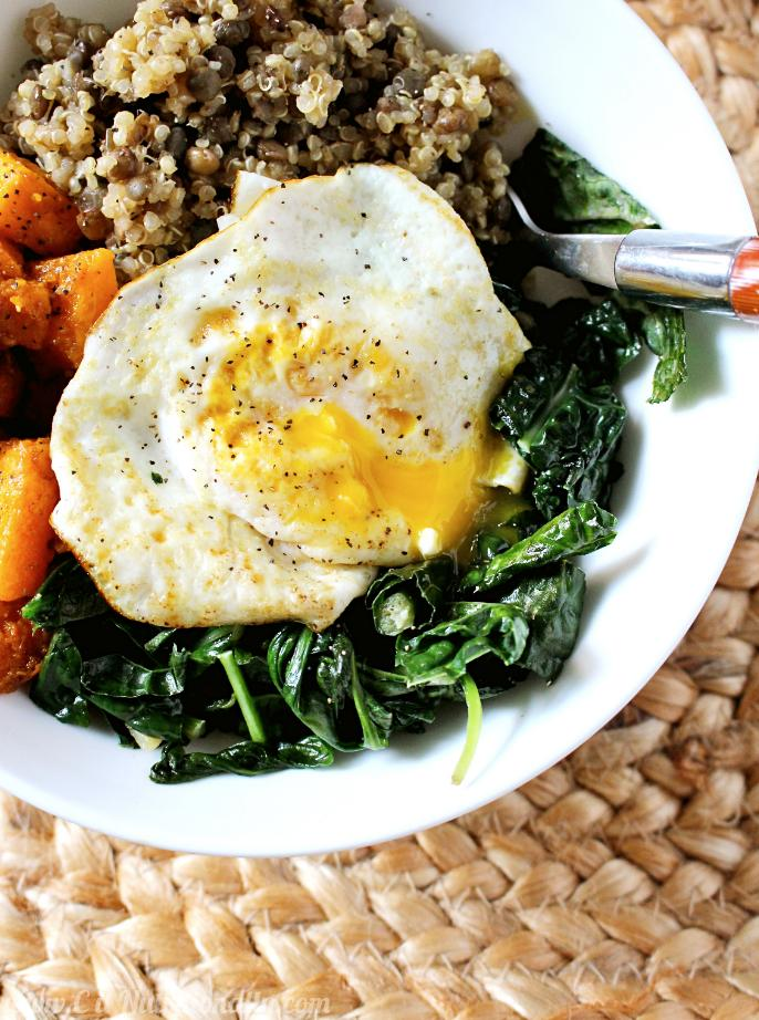 quinoa and lentil power bowl with an egg on top