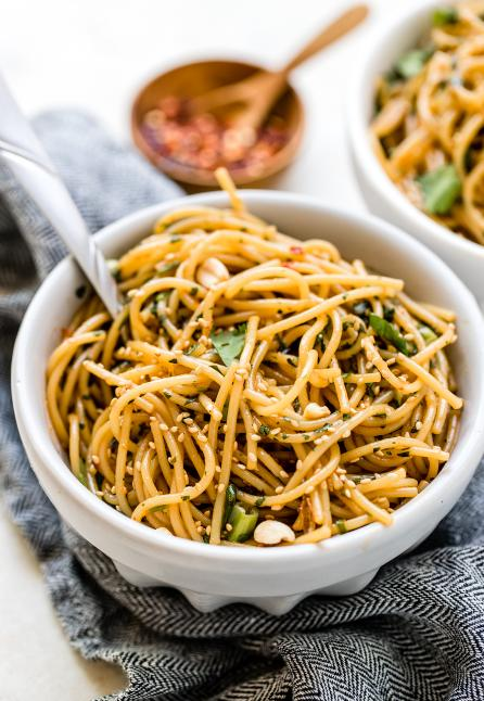 kung pao pasta in a white bowl