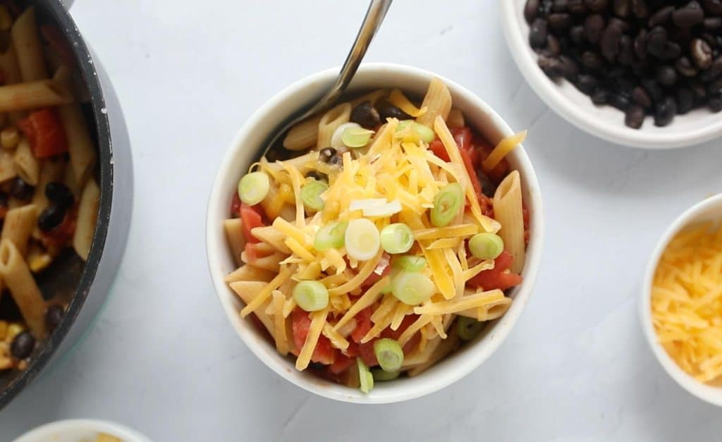 black bean pasta in a white bowl