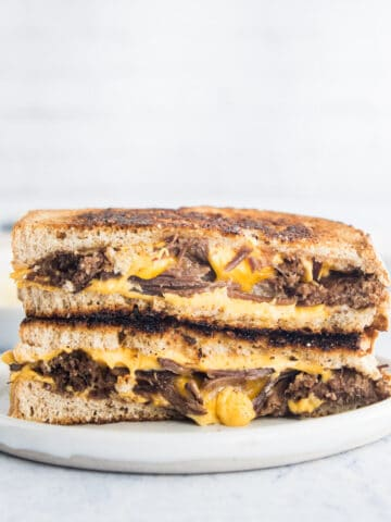 brisket grilled cheese sandwich on a plate