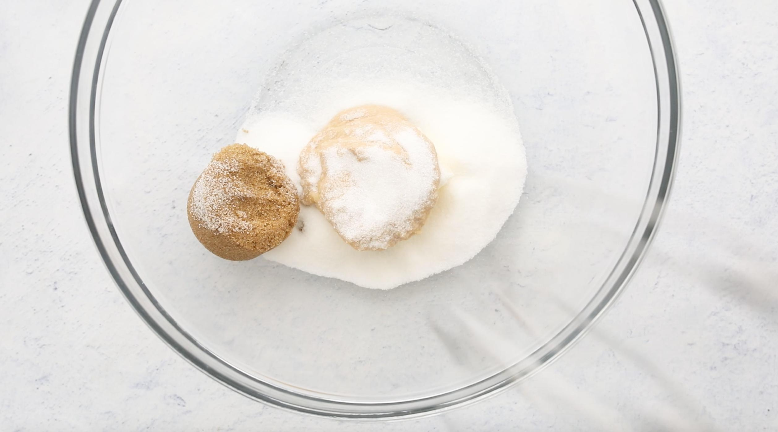 sugars and butter in a large glass bowl
