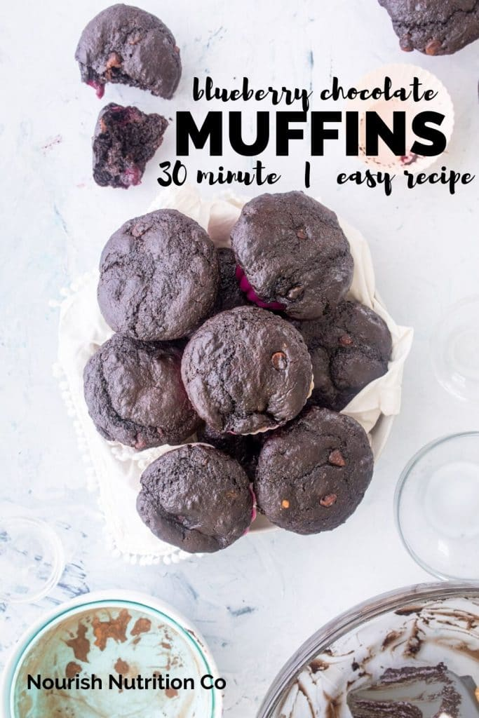 bowl full of chocolate blueberry muffins with bowls on a table with text overlay
