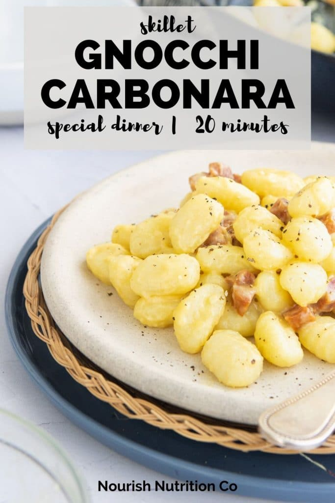 gnocchi carbonara with salami on a plate with text overlay