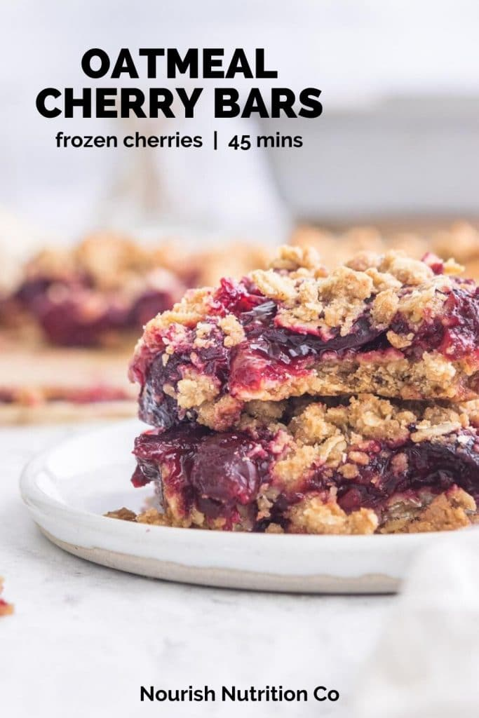 stacked cherry oatmeal bars with text overlay