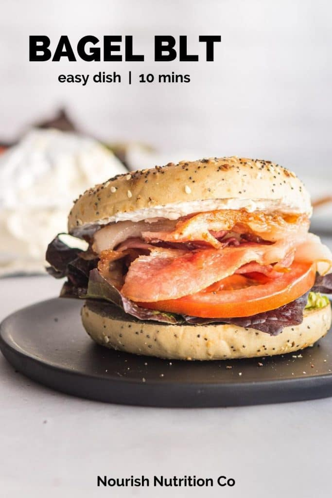 bagel blt on a black plate with text overlay