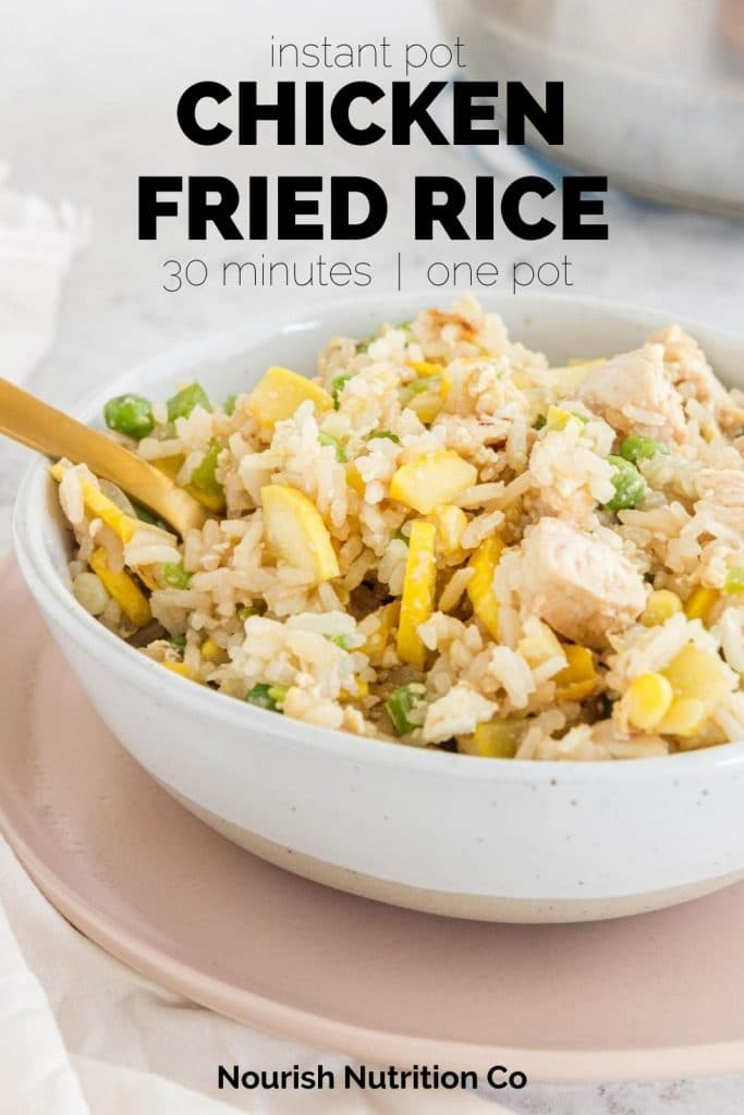 close up of chicken fried rice with text overlay