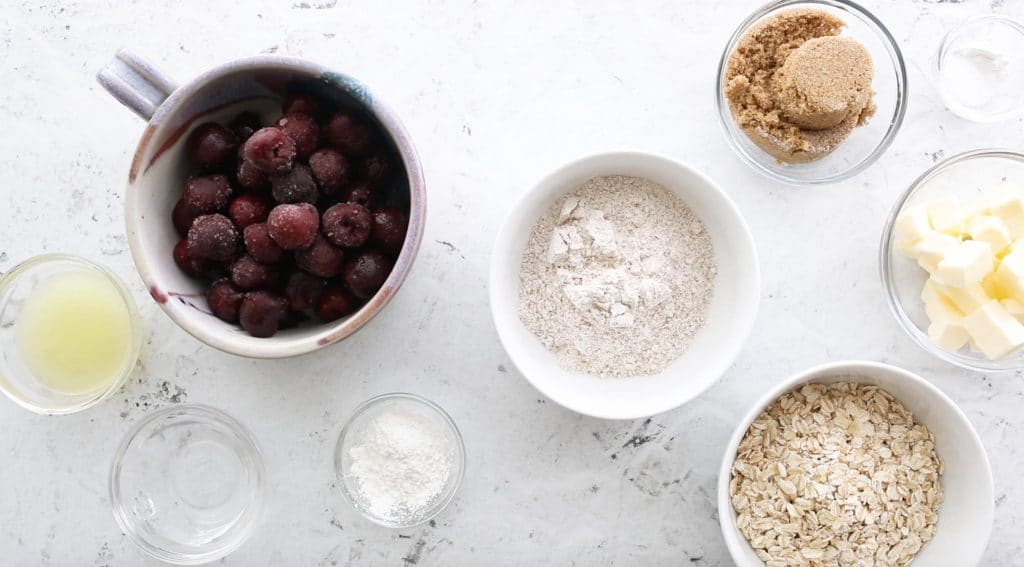 ingredients for cherry oatmeal bars