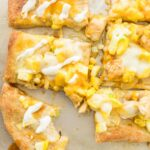 buffalo chicken flatbread with ranch on top