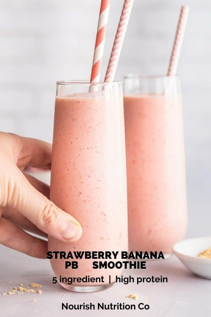 hand holding a strawberry banana smoothie with text overlay