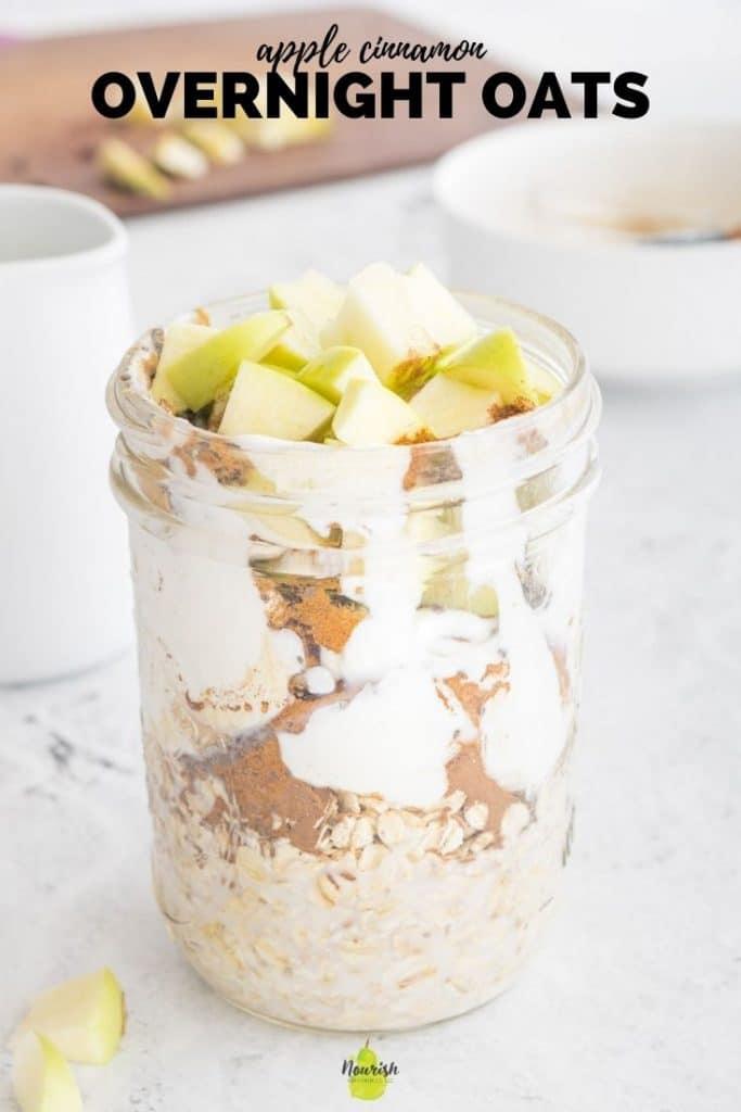 apple cinnamon overnight oats in jar with text overlay