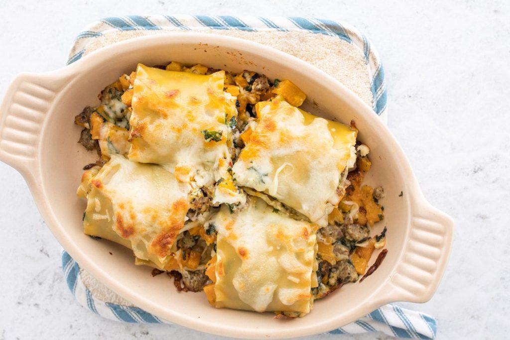 baked lasagna rolls in baking dish