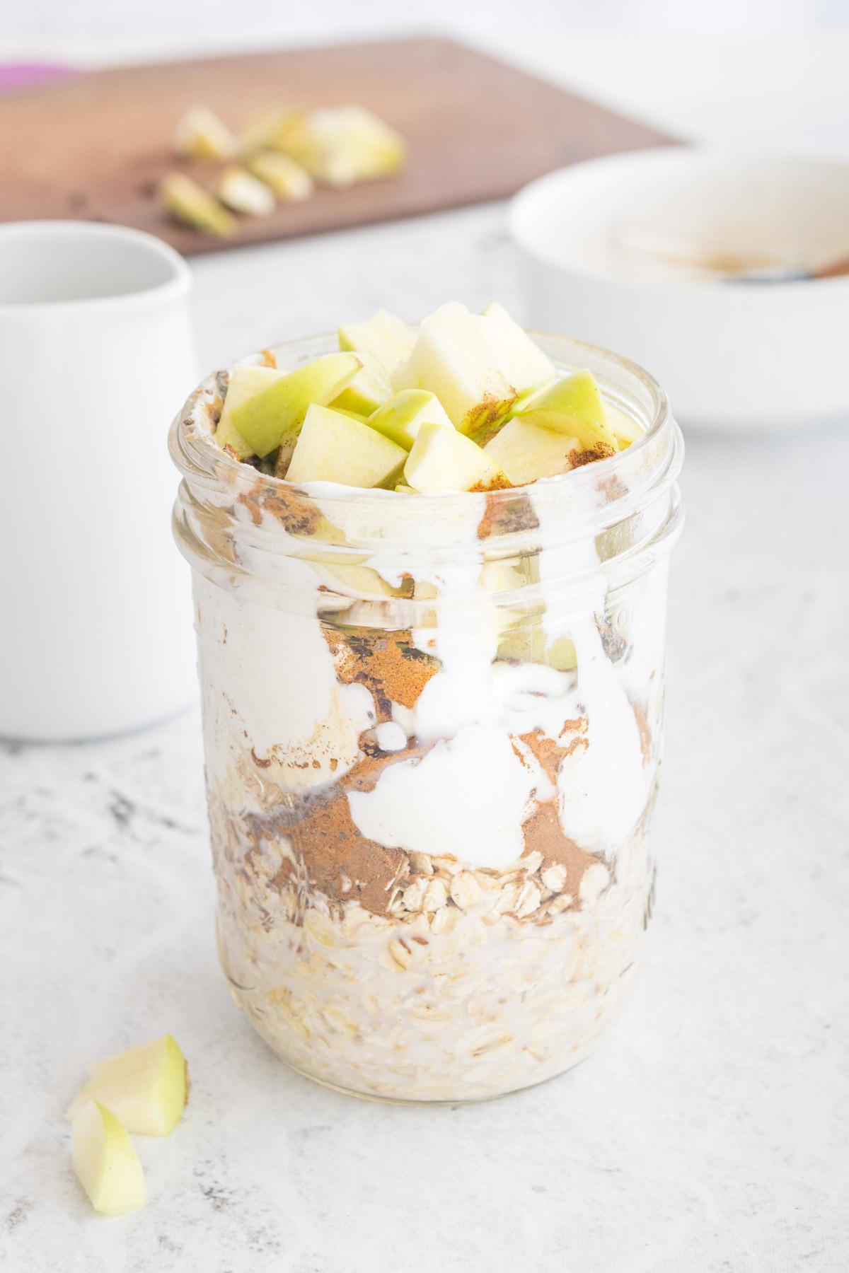 apple cinnamon overnight oats in a glass jar