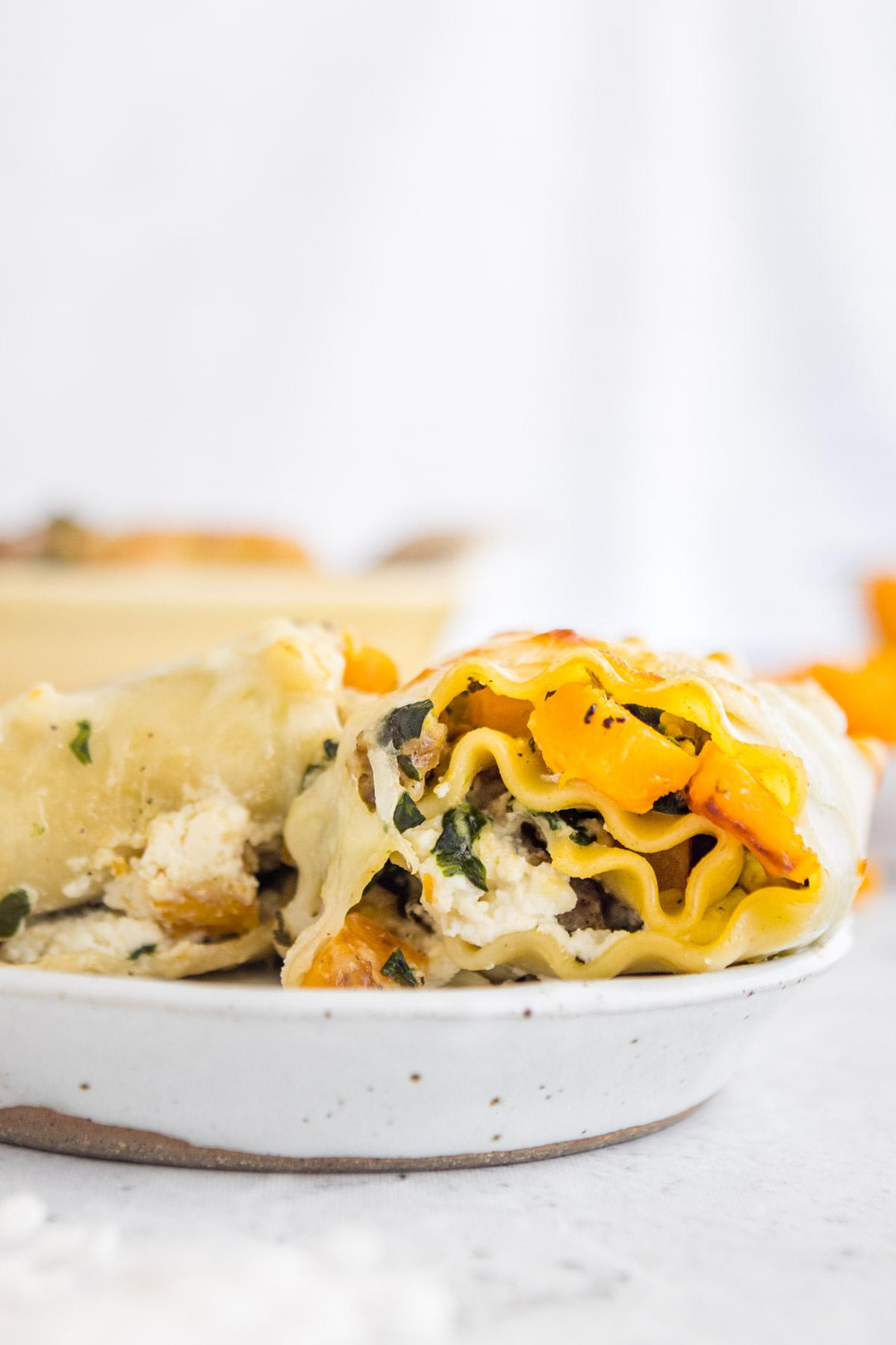 looking inside a butternut squash lasagna roll