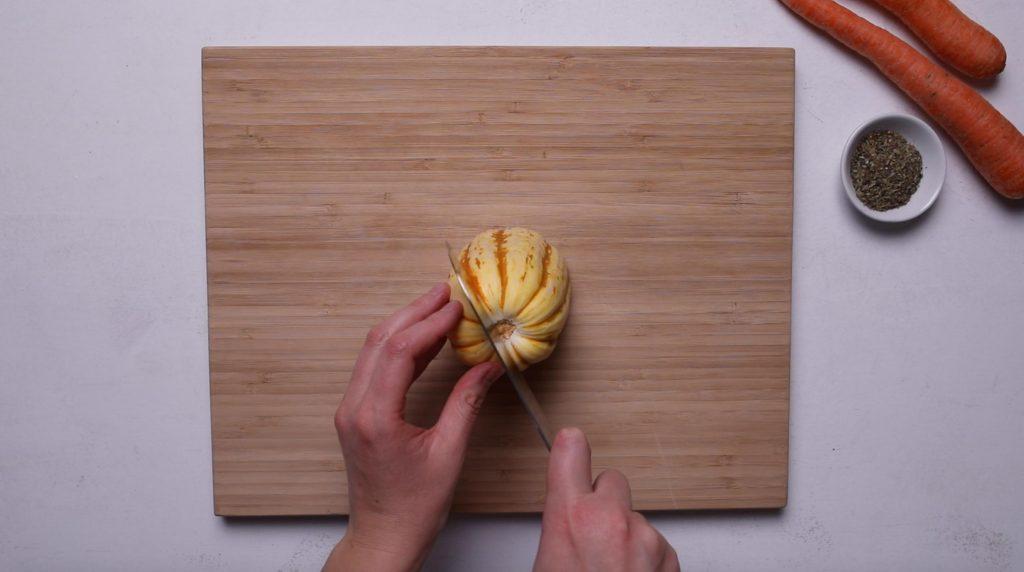 cutting delicata squash down center
